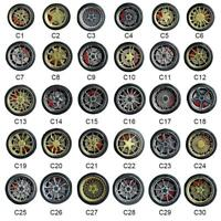 1/64 Scale Alloy Wheels with Disc Brakes-C1-C30-Diecast Rubber Tires Accessories