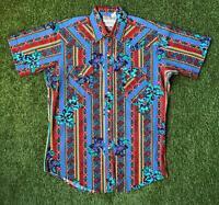 90s Vintage ROAD RUNNER Mens 90s Western Shirt Large L | Short Sleeve Aztec |
