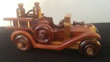 Vintage Handmade Old Model Wooden Car~Handicrafted Antique fire engine truck Toy