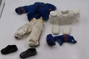 1960s JOHNNY HERO DOLL Blue white UNIFORM , FOOTBALL HELMET CLEATS