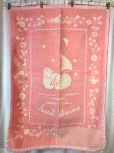 Vtg Baby Blanket Pink Sweet Dreams Cotton Large Heavy 44 X 31 Antique Cradle  Ub