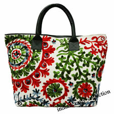 Indian Boho Cotton Suzani Embroidery Handbag Woman Tote Shoulder Beach Bag 0014