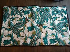 Nobility Quilted King Shams Teal White Brown Set Of 2