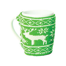 Christmas Jumper Mug. Reindeer Knitted Sleeve Ceramic Xmas Cool Gift Idea