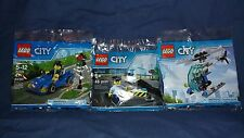 LEGO CITY 3 Piece Promo Police Road Block 6182882, 30351 Police Helicopter Rare