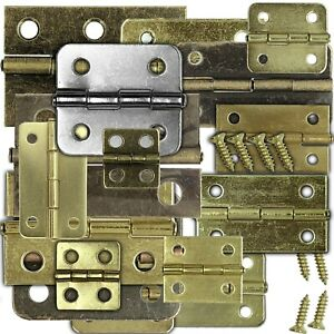 Hinges, Small brass with matching screws, round/square, choose size, UK stock