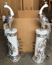 Large Set Of 2 Crushed Diamond Ceramic Silver Peacock Display Ornament NEW UK