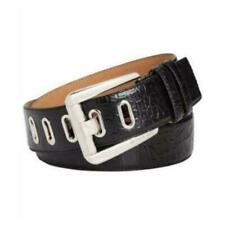 MICHAEL Michael Kors Womens Large Croco Embossed Leather Belt Black 42 MM Silver