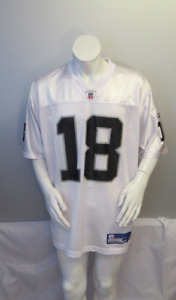 Oakland Raiders Jersey (Retro) - Randy Moss # 18 - Away White - Men's Large