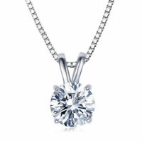 """1 Ct Round Brilliant Cut 14k White Gold Filled Solitaire 18"""" Necklace"""