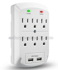 6 Outlet AC Wall Tap 2.1A 2 USB Ports Charger Surge Protector Socket Light Grey