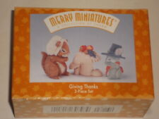 "Rare 1995 ""Giving Thanks"" Thanksgiving Merry Miniatures 3 Piece Ornament Set New"