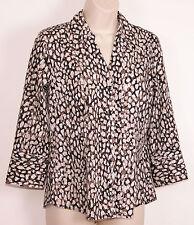 Alfani Womens V-Neck Shirt size 6 Animal Print Button Front Stretch Leopard Euc