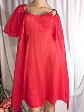Vintage Warner's Red Double Chiffon Gown, Peignoir, Set Size M