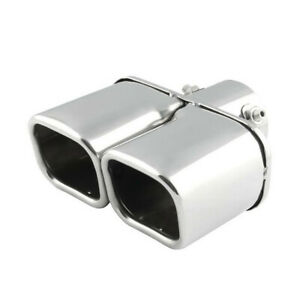 """Dual Car Exhaust Tip Square Chrome Stainless steel Tail Pipe Muffler 63mm/2.5"""""""