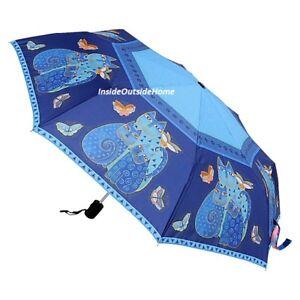 Laurel Burch COMPACT Umbrella Indigo Blue Cats Auto Open & Close Large Canopy Nw