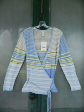 J. Jill Wrap Sweater -M- Periwinkle Green Cream Stripe Linen/Cotton/Nylon NWT