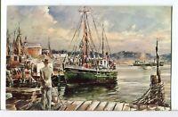 Seascape Watercolor by James Murray, Harbor Scene in Massachusetts Postcard