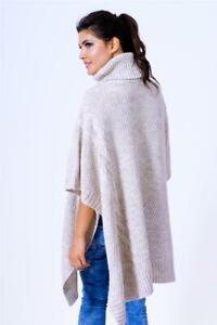 Poncho Knit Cape Roll Neck Size 36 38 40 S M L XL, IN 4 Colors S45