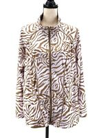 Activology Womens Track Jacket Beige Plus Size 1X Zebra Animal Print Zipper Gym