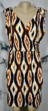 WORTHINGTON STRETCH Black Brown Pust Ivory Patterned Faux Wrap Dress Large