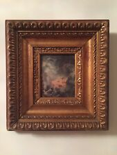 Vintage Gilded Wood Picture Frame With Old Color Print 9.5x10.5 and 3.3x4.2 inch