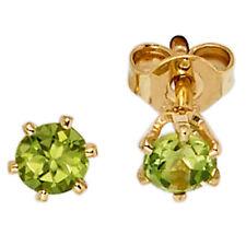 Mujer Pendientes Redondos 585 Oro Amarillo 2 Peridoto Verde