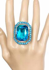 Aqua Turquoise Blue Crystal-Rhinestones Adjustable Statement Ring Pageant
