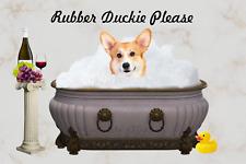 Corgi Pembroke Welsh Dog Bathing Rubber Duck Flex Fridge Magnet Picture Art 4x6