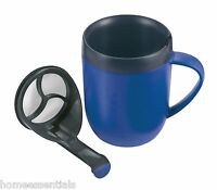 Zyliss Hot Brew Mug Blue Cafetiere Coffee Cup With Lid Travel Mug