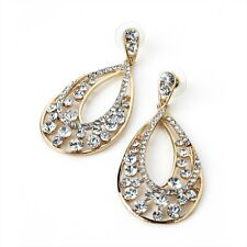 Drop Earrings Crystal Diamante Gold Coloured Oval Drops