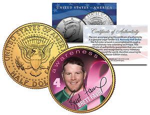 "BRETT FAVRE ""BREAST CANCER AWARENESS PINK"" 24KT GOLD U.S. JFK HALF DOLLAR!"