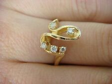 14K YELLOW GOLD FREESTYLE LADIES RING WITH 5 GENUINE DIAMONDS 3 GRAMS, SIZE 6.5
