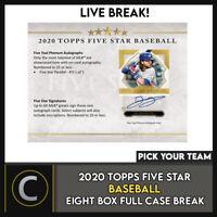 2020 TOPPS 5 STAR BASEBALL 8 BOX (FULL CASE) BREAK #A929 - PICK YOUR TEAM