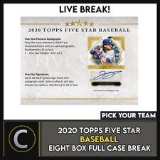 2020 TOPPS 5 STAR BASEBALL 8 BOX (FULL CASE) BREAK #A925 - PICK YOUR TEAM
