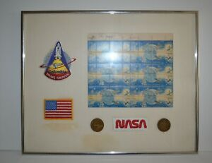 FRAMED SIGNED (JOHN YOUNG & BOB CRIPPEN) NASA STAMPS COLLECTION 18CENT USPS 1981