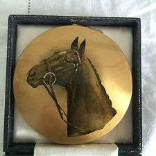 V RARE VINTAGE 1950s LARGE STRATTON RACEHORSE POWDER COMPACT HORSE RACING GIFT