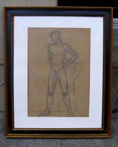 Erna Hansen (1906) Academy male nude and his shadow. Dated 1935