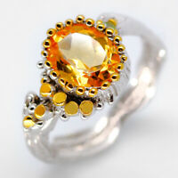 Handmade jewelry Art Natural Gemstone Citrine 925 Sterling Silver Ring / RVS06