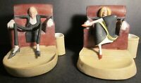 RARE! ANTIQUE SCHAFER & VATER SITTING MAN & WOMAN BISQUE MATCH HOLDERS ~ Germany