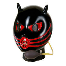 Gummy rubber mask Inflatable latex hood with breath pipe and mirror eyes