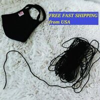 "1/8"" 3mm Round Soft Elastic Cord BLACK DIY Making Mask 10 Yards"