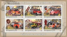 Historic Fire Brigade Engines / Pumps Vehicles Stamp Sheet #1 (2009 Mozambique)