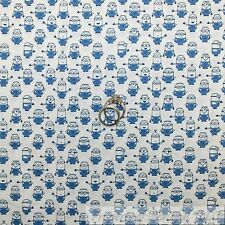 BonEful Fabric Cotton Quilt White Blue Minion Movie Character Boy Girl USA SCRAP
