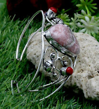 "Plated Jewelry Cuff Bracelet S-7-8"" Rhodochrosite & Coral Gemstone Silver"