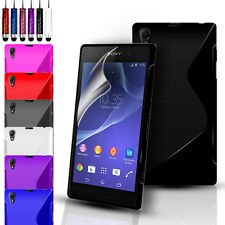 S-Line Silicone Gel Case Cover Pouch For Sony Experia Z2 & Screen Protector