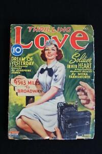 """VERY RARE OCT 1945 ISSUE OF THRILLING LOVE  MAGAZINE 7"""" X 9 1/2""""  GOOD CONDITION"""
