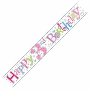 9ft Happy 3rd Birthday Foil Banner Age 3 Girl Party Decorations