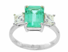 2.97ct Three-Stone Colombian Emerald & Diamond Ring in 14K White Gold