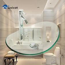Oval Bathroom Glass Vessel Sink Transparent Bowl Chrome Faucet Pop Drain Combo
